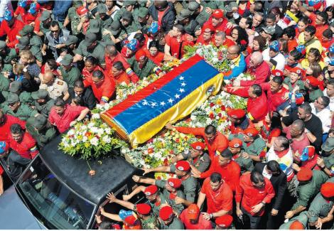 Hugo Chavez' coffin