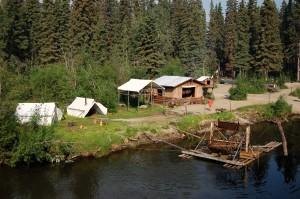 Fish wheel at model Athabascan village