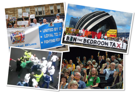 L-R: Regimental Blues at the Trongate last month; Bedroom Tax protest on Saturday; LD conference delegates; a 2009 clash at the Gallowgate