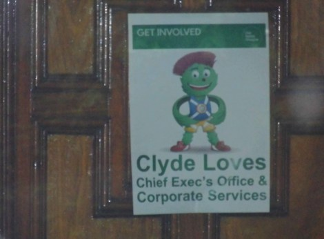 A real poster inside the City Chambers. NOT SATIRE