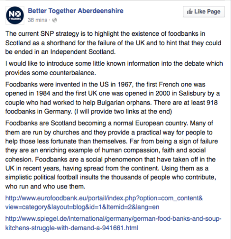 Better Together Aberdeen RE Foodbanks