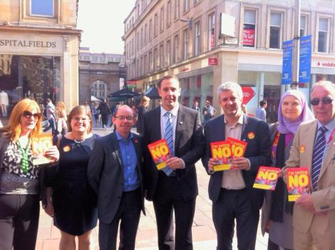 Glasgow Labour Councillors leafleting on Buchanan St today, shortly after 3pm - when a council meeting should have been taking place