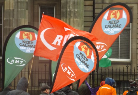 RMT members campaign against the privatisation of CalMac
