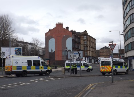 Police block off the Gallowgate
