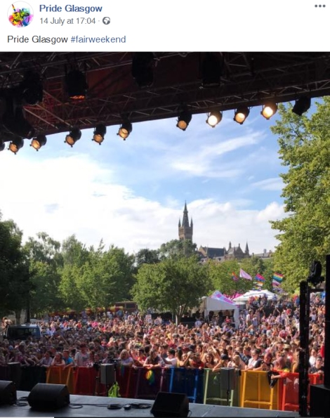 "Screenshot of a picture posted by Pride Glasgow at 17.04 on 14 July 2018 of a crowd with the title ""Pride Glasgow #fairweekend"""