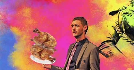 Photoshopped image of Pride Glasgow CEO Alastair Smith holding two rotisserie chickens