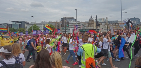 Picture of attendees at the Pride Glasgow march