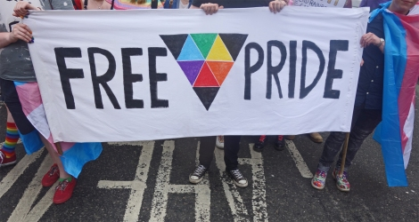 Picture of Free Pride banner at the Pride Glasgow march