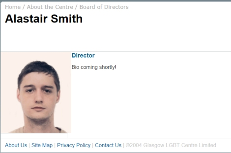 "Screenshot from Glasgow LGBT Centre Limited 2004 website with a picture of Alastair Smith citing him as Director and stating ""Bio coming shortly!"""